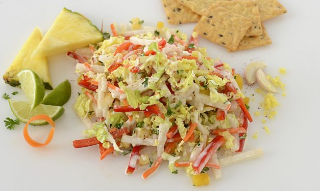 CRUNCHY JICAMA, CABBAGE, AND PINEAPPLE SLAW